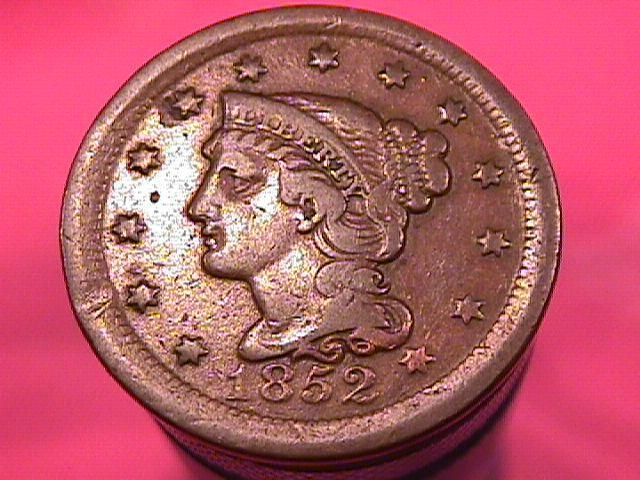BRAIDED HAIR COPPER LARGE CENT 1852 GRADED VERY FINE-25