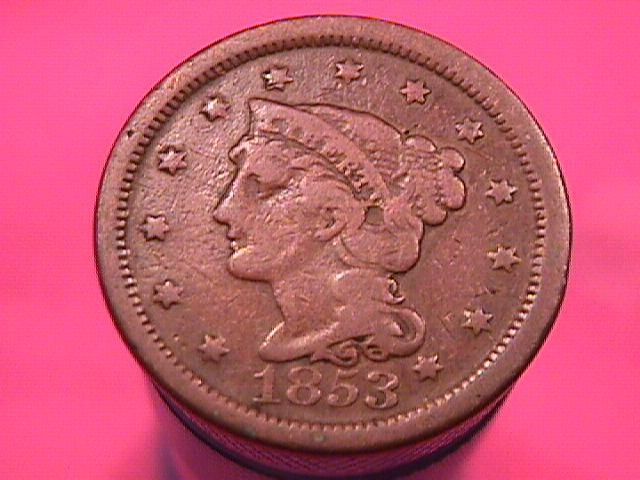 BRAIDED HAIR COPPER LARGE CENT 1853 GRADED FINE-15