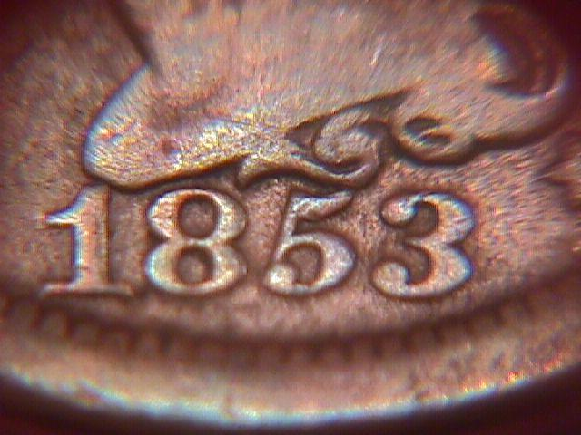 BRAIDED HAIR COPPER LARGE CENT 1853 GRADED GOOD-6