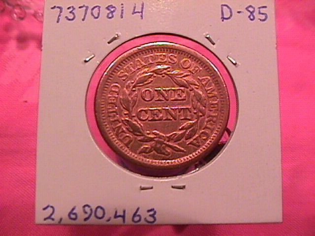 BRAIDED HAIR COPPER LARGE CENT   1856 GRADED ALMOST UNCIRCULATED-50