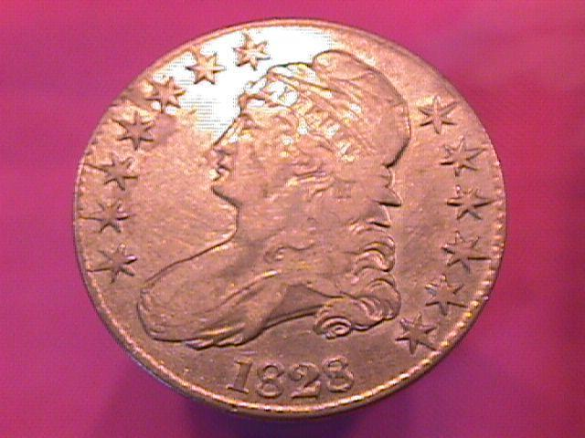 CAPPED BUST SILVER HALF DOLLAR   DATED -1828 GRADED EXTREMELY FINE-45 Condition