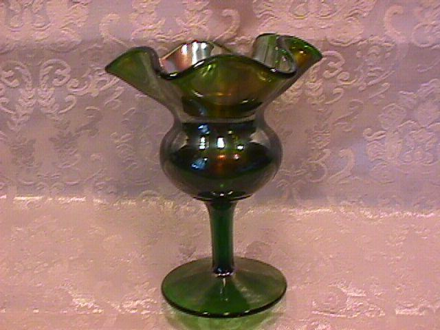 CARNIVAL GLASS FENTON GREEN SPITTOON / COMPOTE VASE