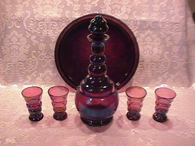 Carnival Glass, Liquor Set=Amethyst