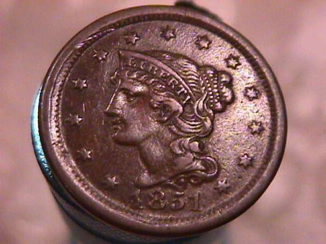BRAIDED HAIR COPPER LARGE CENT  DATED  1851 GRADED VERY FINE-40