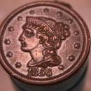 BRAIDED HAIR COPPER LARGE CENT DATED  1856 GRADED EXTREMELY FINE-45