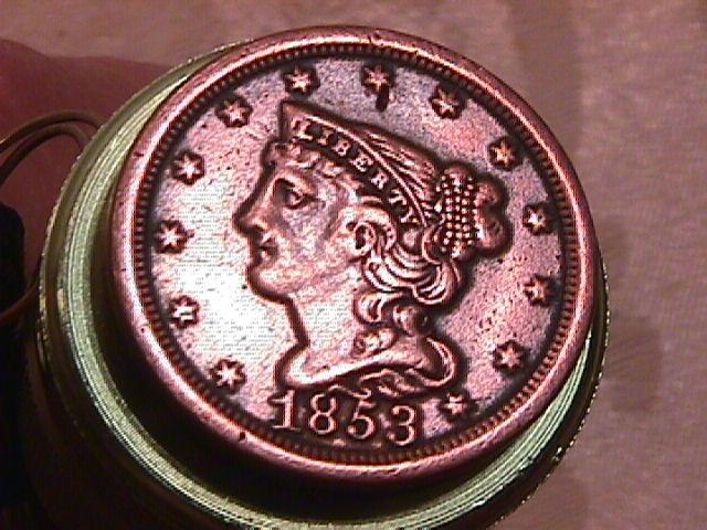 BRAIDED HAIR COPPER HALF CENT DATED 1853 IS GRADED EXTREMELY FINE-45