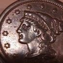 BRAIDED HAIR COPPER LARGE CENT DATED 1851, GRADED VERY FINE-30