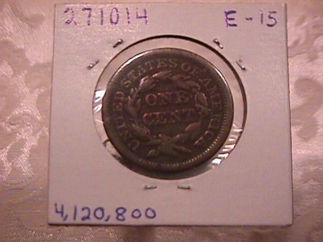 BRAIDED HAIR COPPER LARGE CENT  1846 GRADED  FINE-15