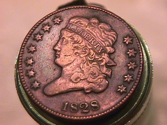 Classic Head Half Cent Coin 1828  EXTREMELY FINE-45 Condition