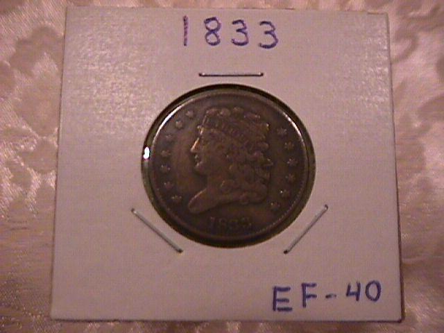 Classic Head COPPER HALF CENT COIN DATED 1833  EXTREMELY FINE-40 Condition