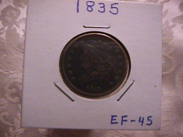 CLASSIC HEAD COPPER HALF CENT COIN DATED 1835  EXTREMELY FINE-45 Condition
