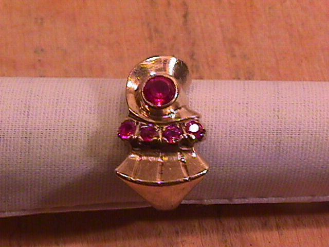 10K Solid Gold & Genuine Ruby, Retro Ladies Ring