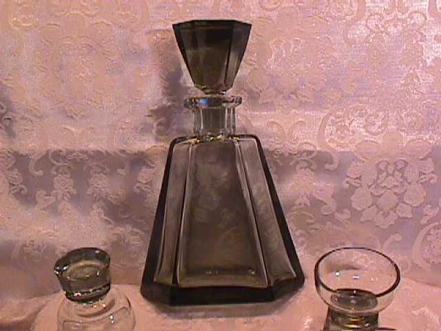 Vintage Leisure Liquor & Smoke Set of Green Crystal