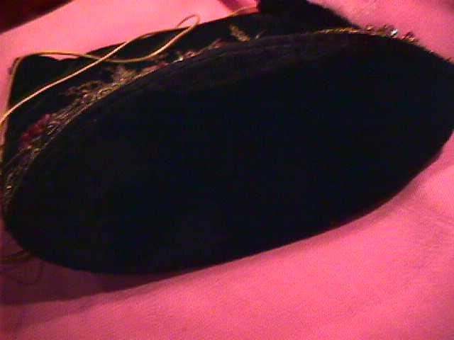Ladies Black Velvet & Beaded Purse & Lipstick Holder