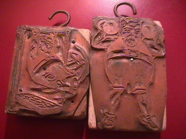 COPPER, LEAD, WOOD PRINT BLOCKS (2) WITH HANGERS