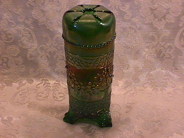 FENTON ORANGE TREE GREEN HATPIN HOLDER CARNIVAL GLASS