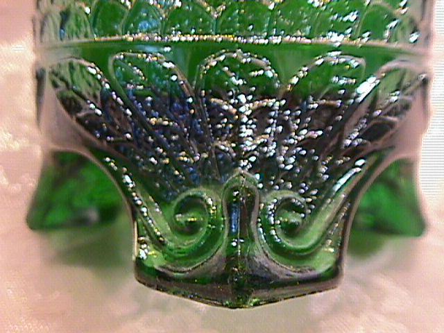 FENTON ORANGE TREE GREEN HATPIN HOLDER CARNIVAL GLASS