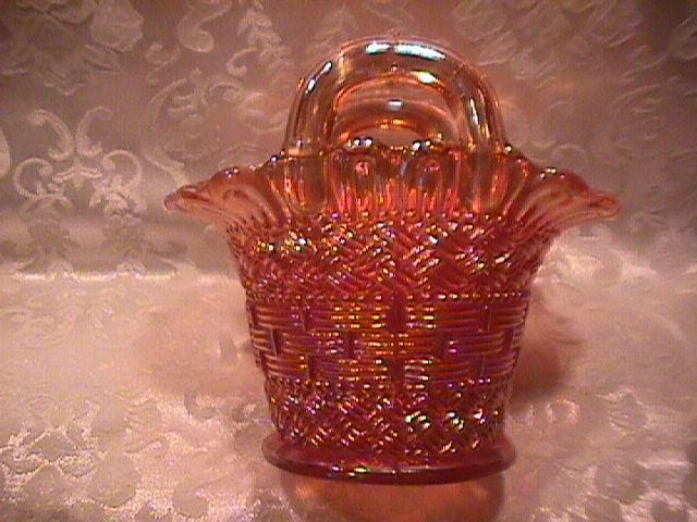 DUGAN MARIGOL BEADED BASKET CARNIVAL GLASS