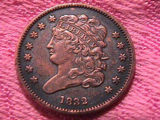 CLASSIC HEAD 1832 EXTREMELY FINE-40 GRADED HALF CENT