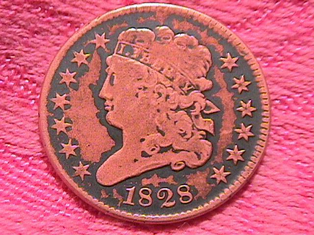 CLASSIC HEAD 1828- VERY FINE-20 GRADED HALF CENT