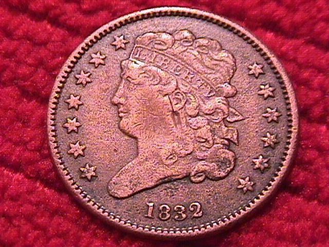 CLASSIC HEAD 1832 VERY FINE-25 GRADED HALF CENT