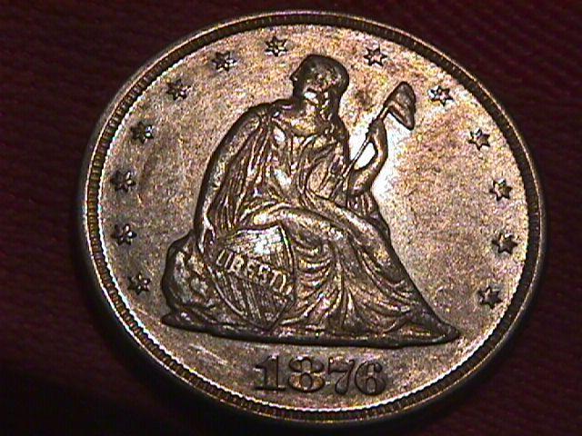 Liberty Seated Silver Twenty Cent Piece 1876  AU-53