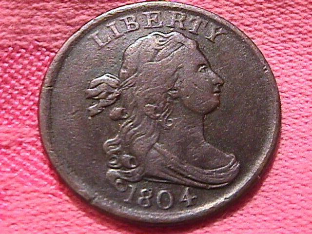 DRAPED BUST 1804 PLAIN 4 STEMLESS GRADED EXTREMELY FINE-40 HALF CENT