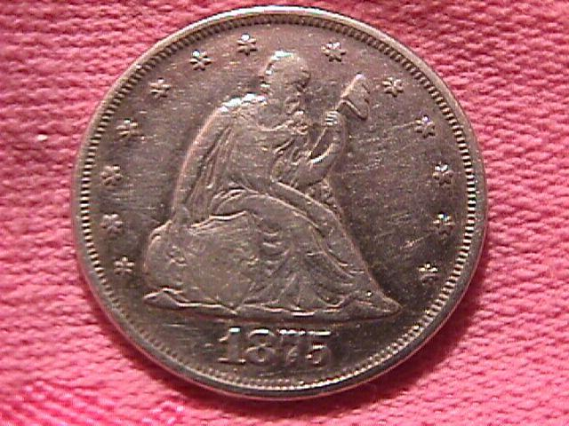 Liberty Seated Silver Twenty Cent Piece 1875  Very Fine 25 Condition