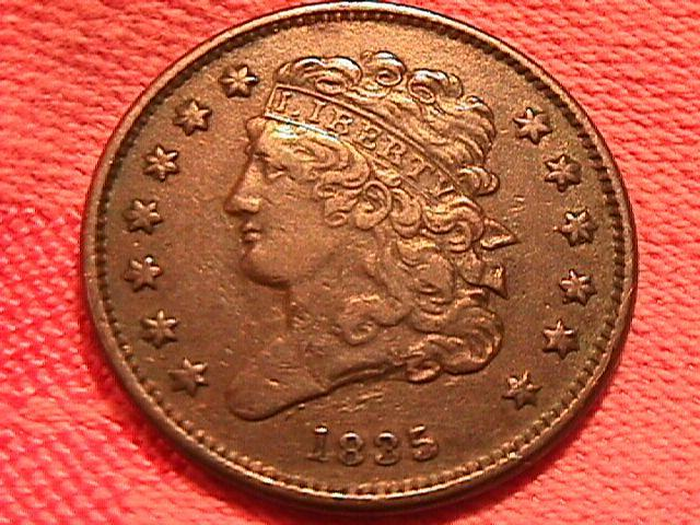 Coin Classic Head Half Cent  1835  Extremely Fine 45 Condition