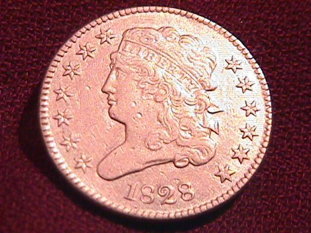 Coin Classic Head Half Cent  1828 Almost Uncirculated- 50 Condition