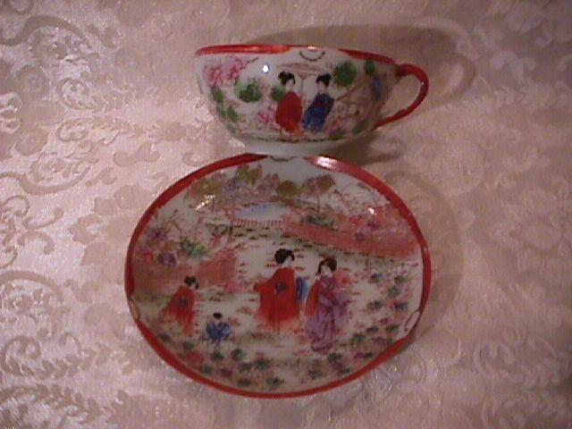 Japanese (Geisha Girl) 4-Cups & Saucers & Open Sugar