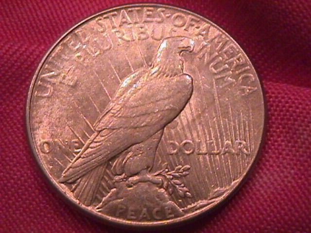 PEACE TYPE SILVER DOLLAR 1927-S ALMOST UNCIRCULATED-58