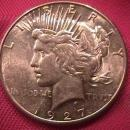 PEACE TYPE SILVER DOLLAR 1927-S MINT STATE-62