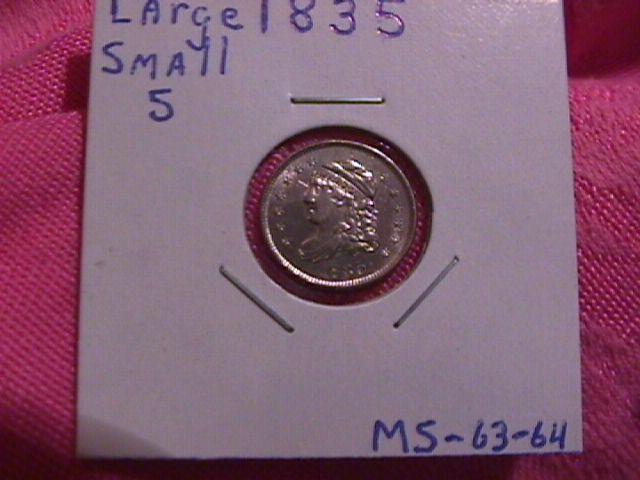 CAPPED BUST HALF DIME 1835 MINT STATE-63