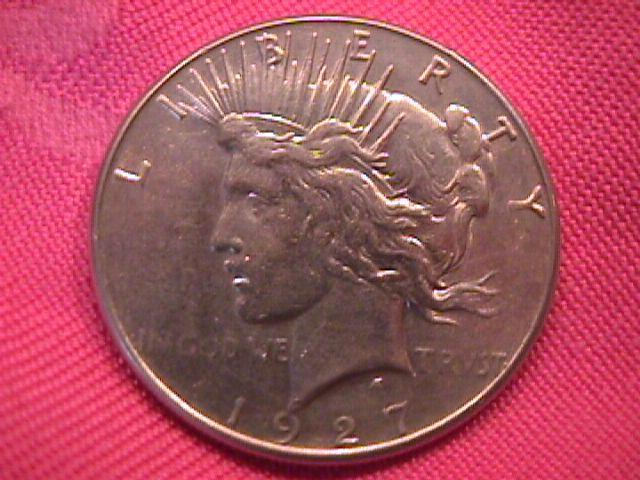 PEACE TYPE SILVER DOLLAR 1927-S ALMOST UNCIRCULATED 58