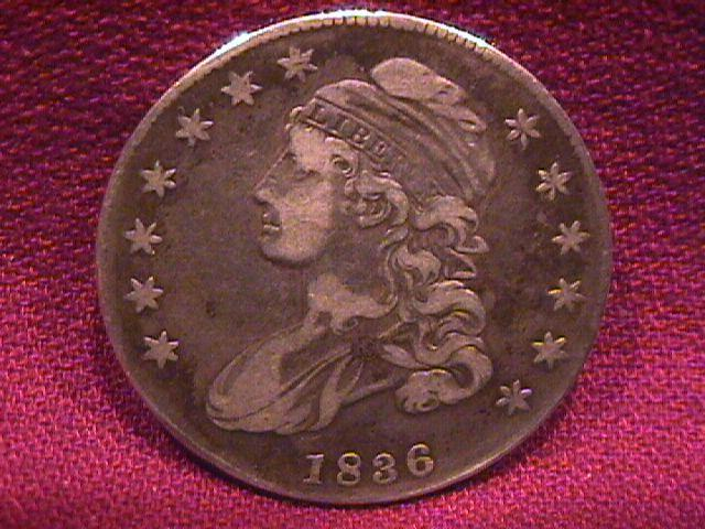 CAPPED BUST SILVER HALF DOLLAR DATED 1836 GRADED VERY FINE-25