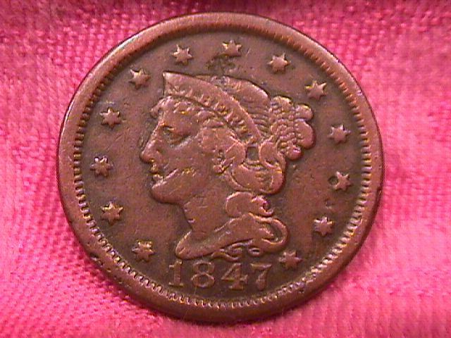 BRAIDED HAIR COPPER LARGE CENT  1847  VERY FINE-20