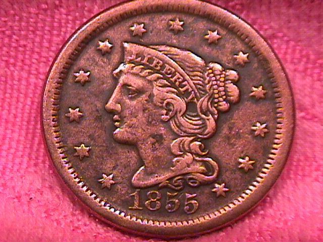 BRAIDED HAIR COPPER LARGE CENT  CENT DATED   1850  VERY FINE -40