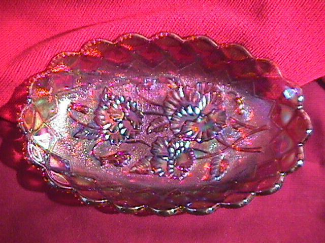 IMPERIAL CARNIVAL GLASS AMBER PANSY PICKLE DISH