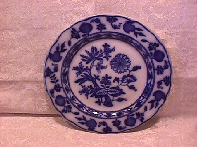 S. Hancock & Sons, Flow Blue-(Dresden)  Salad Plate