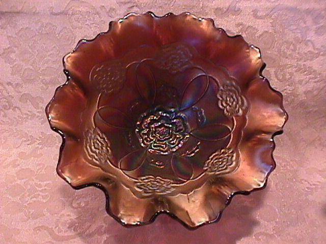 Amethyst Carnival Glass, Dugan, (Double Stem Rose) Bowl