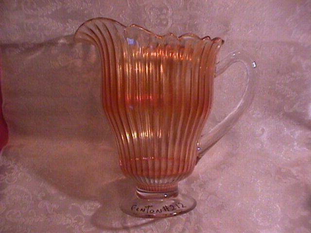 Marigold Carnival Glass, Fenton (Scales Band #212) Unlisted Pitcher