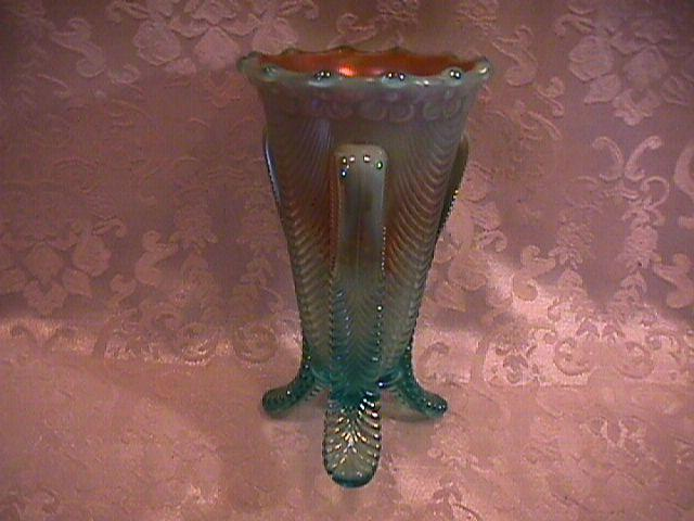 CARNIVAL GLASS NORTHWOOD DAISY & DRAPE VASE AQUA-OPAL