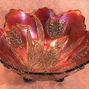 DUGAN CARNIVAL GLASS BUTTERFLY & TULIP AMETHYST SIDES UP BOWL