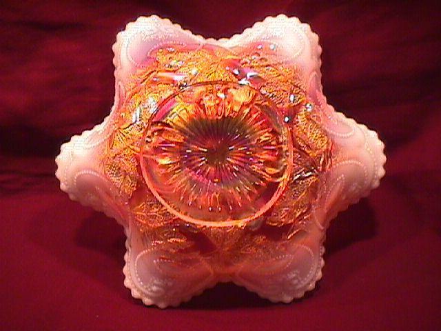 DUGAN CARNIVAL GLASS CHERRIES 6 RUFFLE PEACH OPALESCENCES BOWL