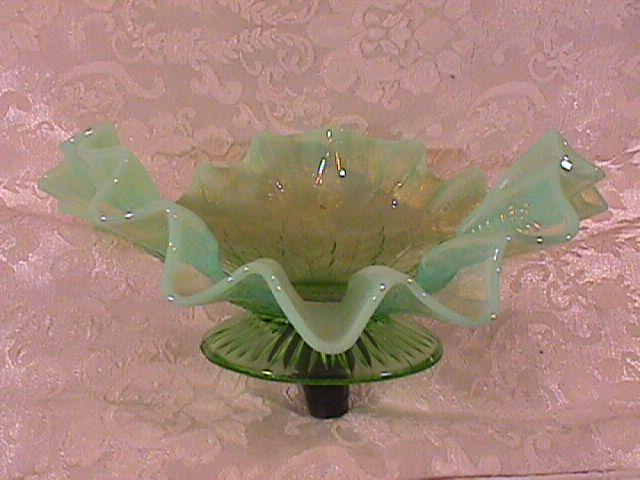 NORTHWOOD LEAF & BEADS TRI CORNER PIE CRUST EDGE DOME FOOTED GREEM OPALESCENT BOWL