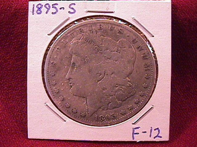 MORGAN 1895-S SILVER DOLLAR FINE-12 EXTREMELY RARE KEY DATE