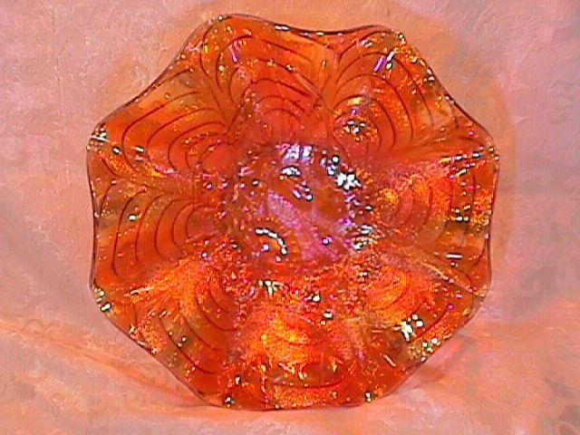 CARNIVAL GLASS PANSY 6 RUFFLE PUMPKIN MARIGOLD BOWL IMPERIAL