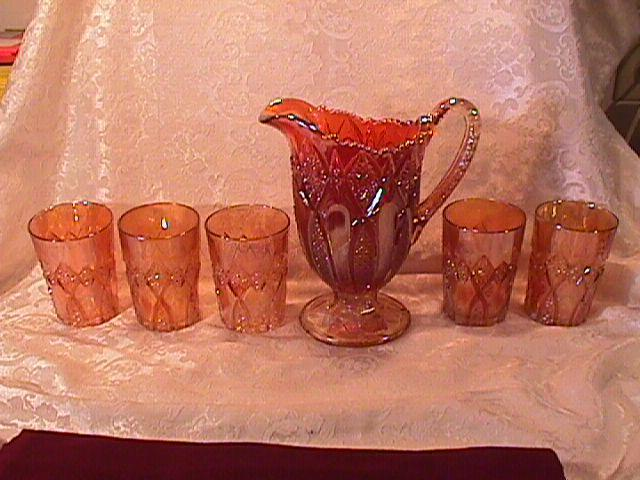 CARNIVAL GLASS HOBSTAR BAND VARIANT PITCHER & 5 TUMBLERS MARIGOLD