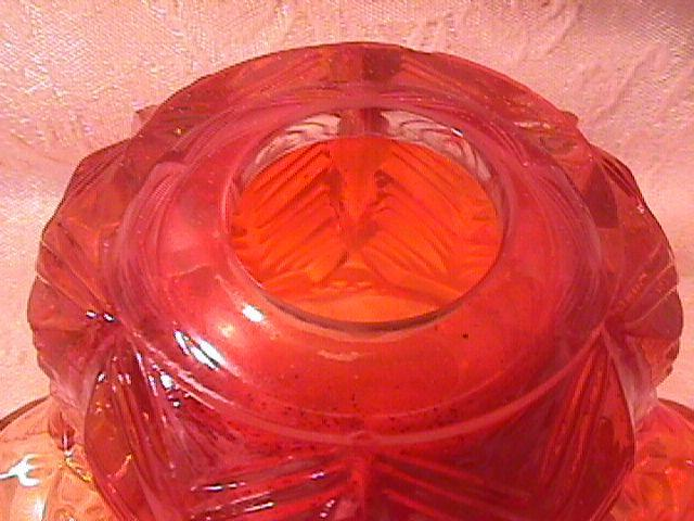CARNIVAL GLASS INVERTED FEATHER LAMP SHADE MARIGOLD CAMBRIDGE
